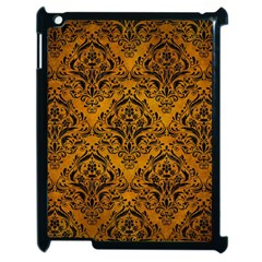 Damask1 Black Marble & Yellow Grunge Apple Ipad 2 Case (black)