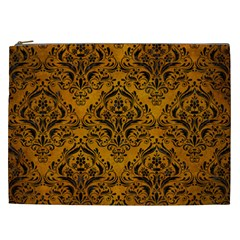 Damask1 Black Marble & Yellow Grunge Cosmetic Bag (xxl)