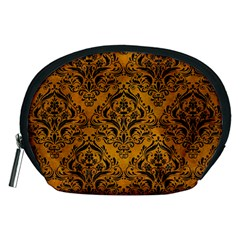 Damask1 Black Marble & Yellow Grunge Accessory Pouches (medium)