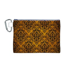 Damask1 Black Marble & Yellow Grunge Canvas Cosmetic Bag (m)