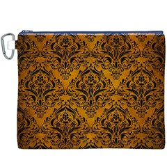 Damask1 Black Marble & Yellow Grunge Canvas Cosmetic Bag (xxxl)