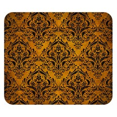 Damask1 Black Marble & Yellow Grunge Double Sided Flano Blanket (small)