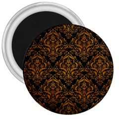 Damask1 Black Marble & Yellow Grunge (r) 3  Magnets