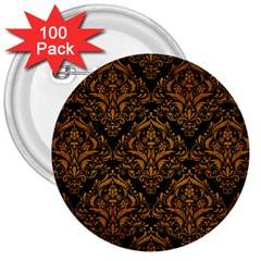 Damask1 Black Marble & Yellow Grunge (r) 3  Buttons (100 Pack)