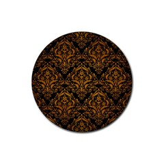 Damask1 Black Marble & Yellow Grunge (r) Rubber Round Coaster (4 Pack)