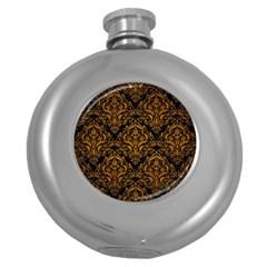 Damask1 Black Marble & Yellow Grunge (r) Round Hip Flask (5 Oz)