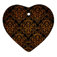 Damask1 Black Marble & Yellow Grunge (r) Heart Ornament (two Sides)