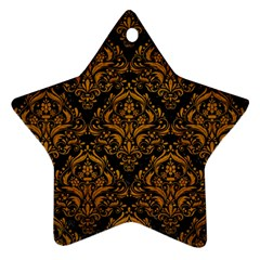 Damask1 Black Marble & Yellow Grunge (r) Star Ornament (two Sides)