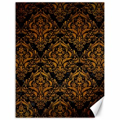 Damask1 Black Marble & Yellow Grunge (r) Canvas 12  X 16