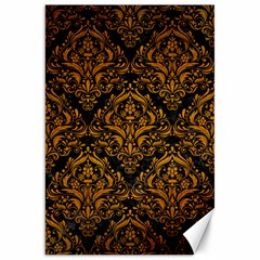 Damask1 Black Marble & Yellow Grunge (r) Canvas 20  X 30