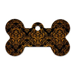 Damask1 Black Marble & Yellow Grunge (r) Dog Tag Bone (two Sides)