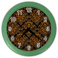 Damask1 Black Marble & Yellow Grunge (r) Color Wall Clocks