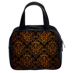 Damask1 Black Marble & Yellow Grunge (r) Classic Handbags (2 Sides)