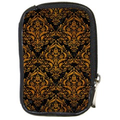 Damask1 Black Marble & Yellow Grunge (r) Compact Camera Cases
