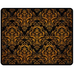 Damask1 Black Marble & Yellow Grunge (r) Fleece Blanket (medium)