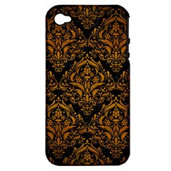 Damask1 Black Marble & Yellow Grunge (r) Apple Iphone 4/4s Hardshell Case (pc+silicone)