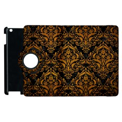 Damask1 Black Marble & Yellow Grunge (r) Apple Ipad 3/4 Flip 360 Case