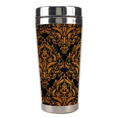 Damask1 Black Marble & Yellow Grunge (r) Stainless Steel Travel Tumblers