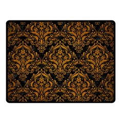 Damask1 Black Marble & Yellow Grunge (r) Double Sided Fleece Blanket (small)