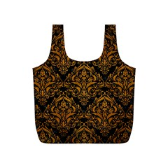 Damask1 Black Marble & Yellow Grunge (r) Full Print Recycle Bags (s)