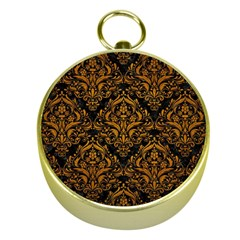 Damask1 Black Marble & Yellow Grunge (r) Gold Compasses