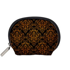 Damask1 Black Marble & Yellow Grunge (r) Accessory Pouches (small)