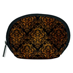 Damask1 Black Marble & Yellow Grunge (r) Accessory Pouches (medium)