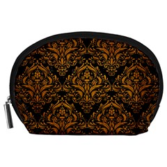 Damask1 Black Marble & Yellow Grunge (r) Accessory Pouches (large)
