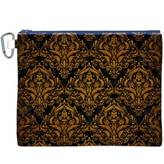 Damask1 Black Marble & Yellow Grunge (r) Canvas Cosmetic Bag (xxxl)