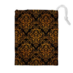 Damask1 Black Marble & Yellow Grunge (r) Drawstring Pouches (extra Large)