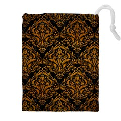 Damask1 Black Marble & Yellow Grunge (r) Drawstring Pouches (xxl)