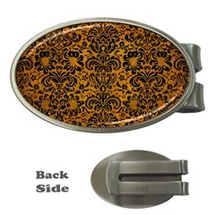Damask2 Black Marble & Yellow Grunge Money Clips (oval)