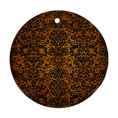 Damask2 Black Marble & Yellow Grunge Round Ornament (two Sides)
