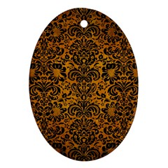 Damask2 Black Marble & Yellow Grunge Oval Ornament (two Sides)