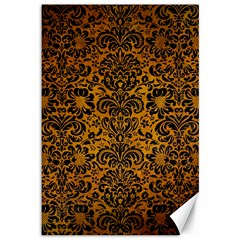 Damask2 Black Marble & Yellow Grunge Canvas 12  X 18