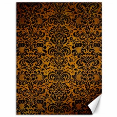 Damask2 Black Marble & Yellow Grunge Canvas 36  X 48