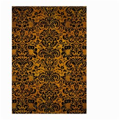 Damask2 Black Marble & Yellow Grunge Small Garden Flag (two Sides)