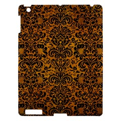 Damask2 Black Marble & Yellow Grunge Apple Ipad 3/4 Hardshell Case