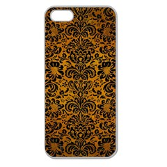 Damask2 Black Marble & Yellow Grunge Apple Seamless Iphone 5 Case (clear)