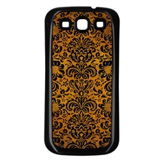 Damask2 Black Marble & Yellow Grunge Samsung Galaxy S3 Back Case (black)