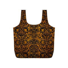 Damask2 Black Marble & Yellow Grunge Full Print Recycle Bags (s)