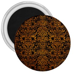 Damask2 Black Marble & Yellow Grunge (r) 3  Magnets