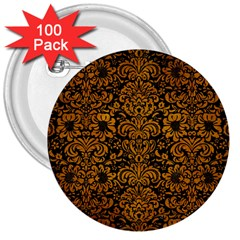 Damask2 Black Marble & Yellow Grunge (r) 3  Buttons (100 Pack)