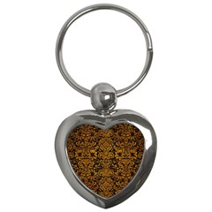 Damask2 Black Marble & Yellow Grunge (r) Key Chains (heart)