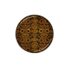 Damask2 Black Marble & Yellow Grunge (r) Hat Clip Ball Marker (10 Pack)