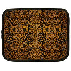 Damask2 Black Marble & Yellow Grunge (r) Netbook Case (large)