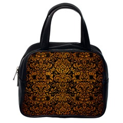 Damask2 Black Marble & Yellow Grunge (r) Classic Handbags (one Side)
