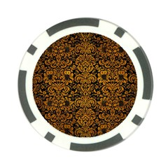 Damask2 Black Marble & Yellow Grunge (r) Poker Chip Card Guard (10 Pack)
