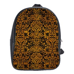 Damask2 Black Marble & Yellow Grunge (r) School Bag (large)