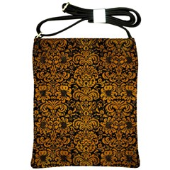 Damask2 Black Marble & Yellow Grunge (r) Shoulder Sling Bags